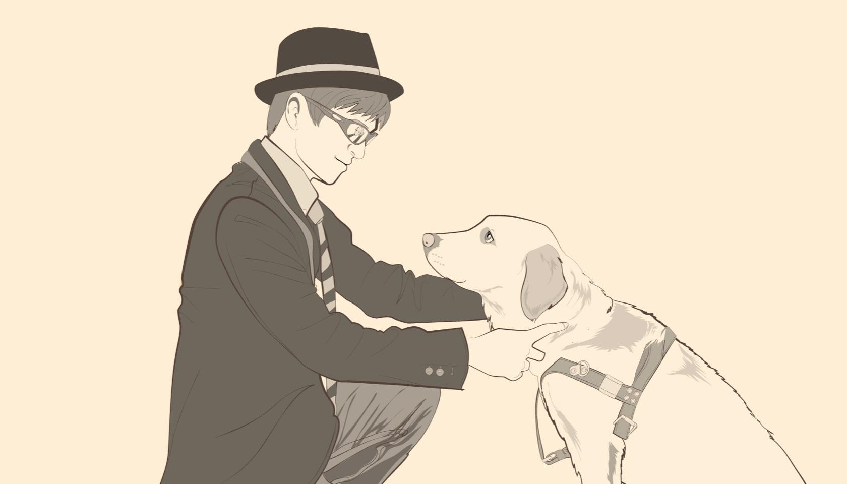 栗山龍太と盲導犬画像3
